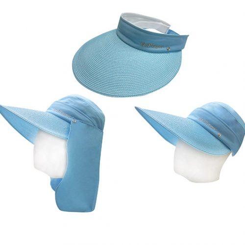 三件式女透氣圓盤帽(水藍)