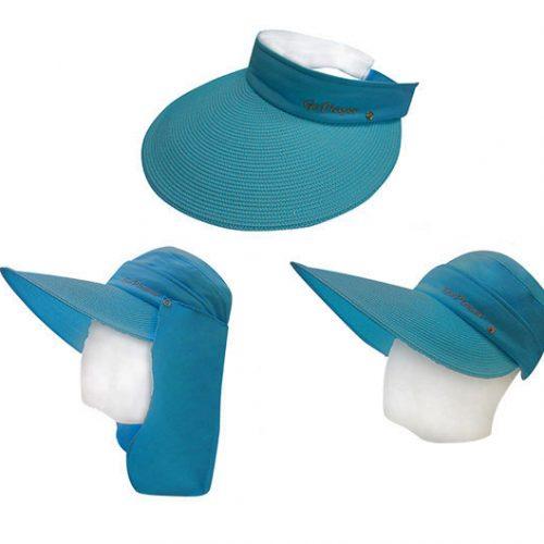 三件式女透氣圓盤帽(藍綠)